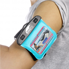 swimcell Blue armband key case on arm
